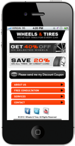 Tire Shop Mobile Website